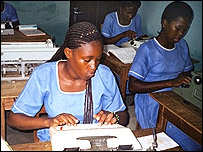 Typing lessons at a vocational school in Ghana