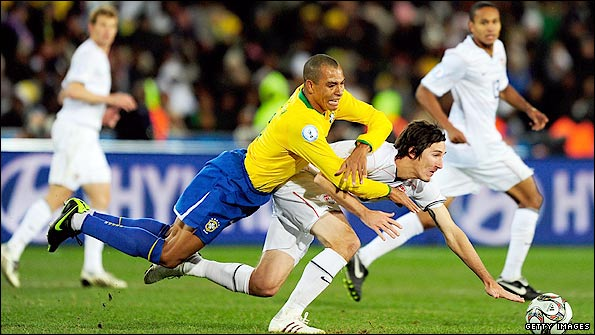 Brazil's Gilberto Silva takes on the US in the Confederations Cup Final