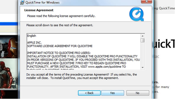 QuickTime step 7 –  License agreement