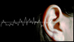 An ear showing graphic sound waves