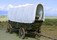 The Mormon settlers famously used covered wagons like this one