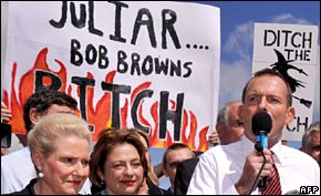 Opposition leader Tony Abbott speaks at the anti-carbon tax rally on 23 March 2011