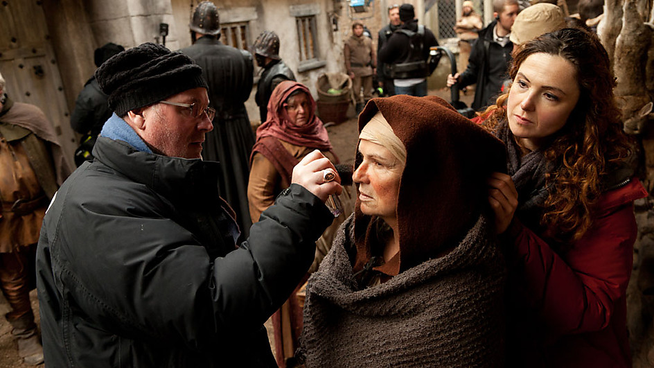 Actress Julie Walters being made-up during shooting for BBC Two's The Hollow Crown.