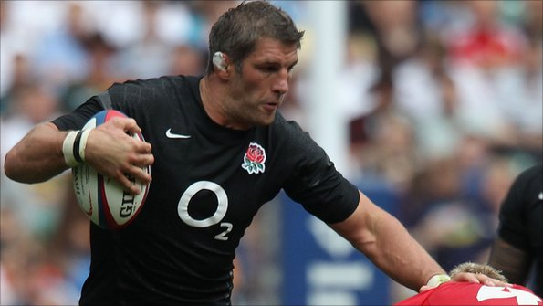 Simon Shaw holds off a Wales defender in England's 23-19 win at Twickenham in their first warm-up Test