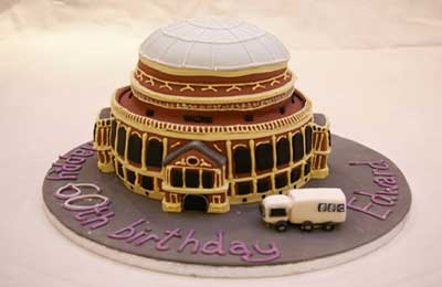 Picture of a birthday cake in the shape of the Royal Albert Hall
