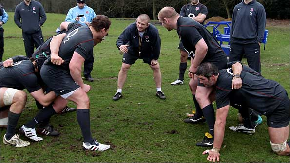 Scrum coach Graham Rowntree with England's front row