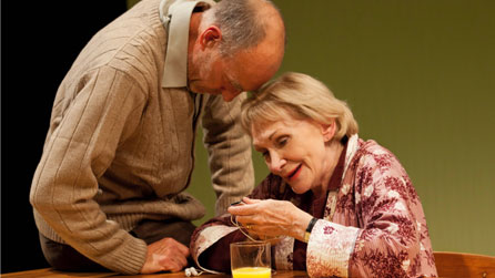 Sam Cox (Billy) and Siân Phillips (Maggie) in Frantic Assembly's Lovesong. Photo: Johan Persson