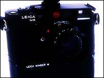 Leica M6 camera with motordrive attached