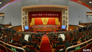 Interior view of the Great Hall of the People during the closing ceremony of the 2012 Party Congress