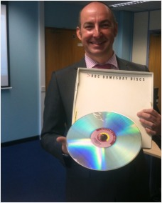 The author with one of the Domesday Discs