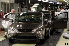 A Honda Civic rolling off the production line at the Honda plant in Swindon