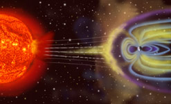 Artist's rendition of Earth's magnetosphere (credit: NASA)