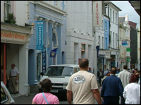 Busy streets of Falmouth