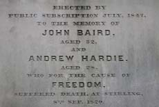 Dedication on the 1820 Monument