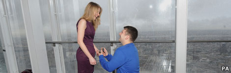 a marriage proposal at The Shard, PA