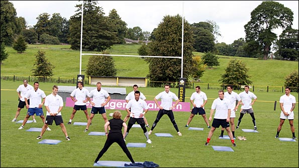 Crusaders take part in a yoga session
