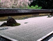 Carefully-arranged Japenese garden of pebbles and large rocks