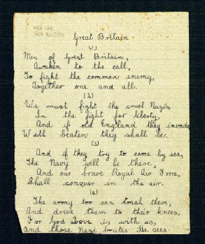 BBC - WW2 People's War - GREAT BRITAIN POEM by BILLY FOSTER