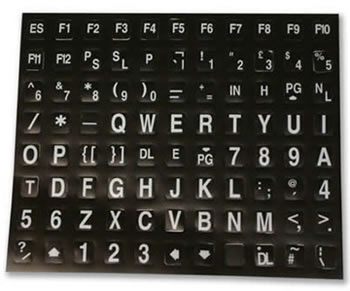 A set of large, high-contrast keyboard stickers