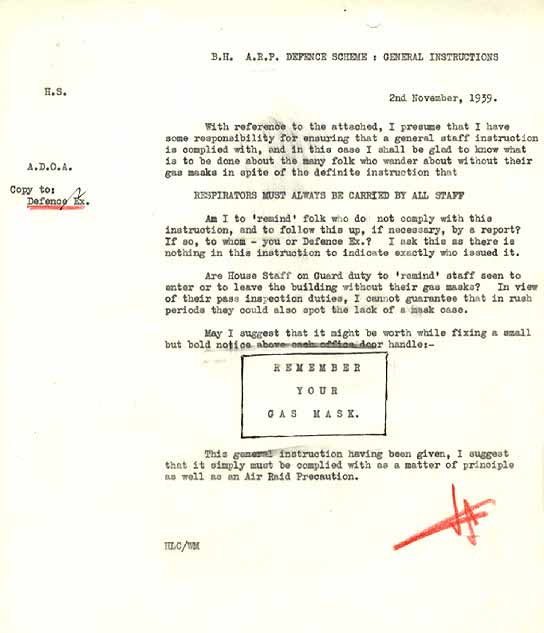 Air Raid Defence Scheme document.
