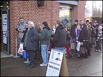 Torchwood fans line-up outside the Norwich Television And Movie Store in Norwich hoping to meet Gareth David-Lloyd.