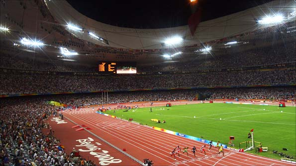 The scene at the Bird's Nest Stadium in Beijing for the 100m final