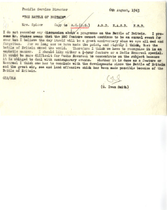 Memo about marking the third anniversary of the Battle of Britain.