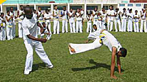 Astero FC training with capoeira