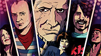 Graphic illustrations of Jim Morrison (foreground), Meg White, Phil Collins, Keith Richards, Dave Grohl and Jimi Hendrix