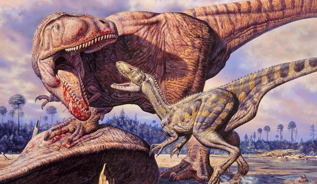 Drawing of theropods dinosaurs (image:Mark Hallet Paleoart / SPL)