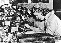 Photograph showing the production of component parts for Spitfire aircraft