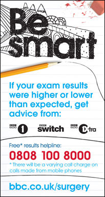 If your exam results were higher or lower than expected, get advice from: 0808 100 8000 (free, but calls may vary from mobile phones)