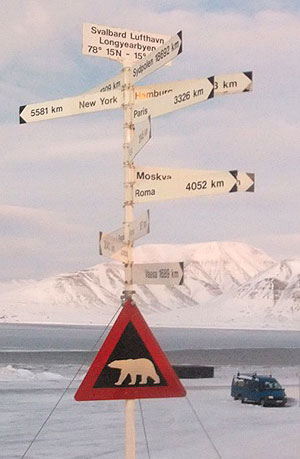 Picture of a signpost on Svalbard