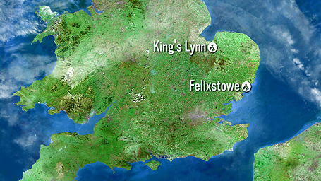 Map showing King's Lynn to Felixstowe