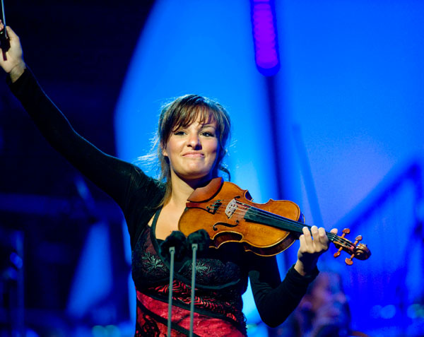 Nicola Benedetti celebrates a performance with the BBC SSO
