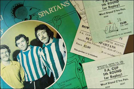 Blyth Spartans match programme and ticket stubs from 1977-8 FA Cup
