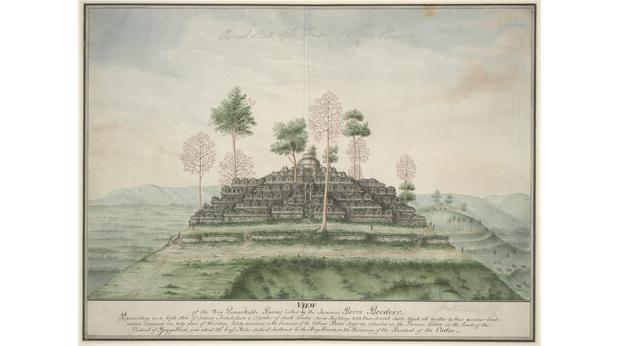 A watercolour painting of Borobudur by Sir Stamford raffles. Copyright Trustees of the British Museum
