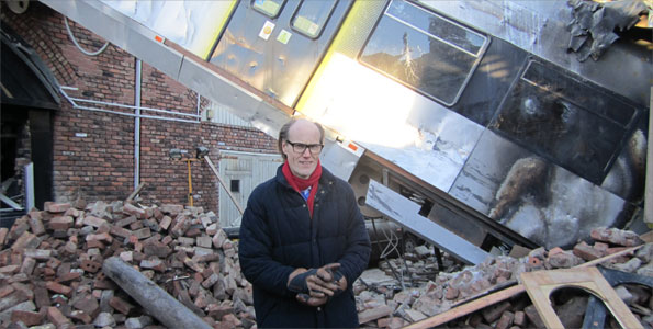 Will Gompertz on the set of Coronation Street