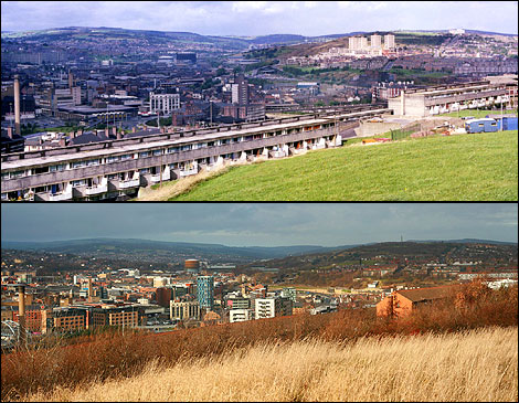 View of Sheffield from Manor Oaks Road, 1985 and 2008