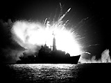 HMS Antelope (F170) a Type 21 frigate of the Royal Navy attacked in San Carlos Water on May 23, 1982.