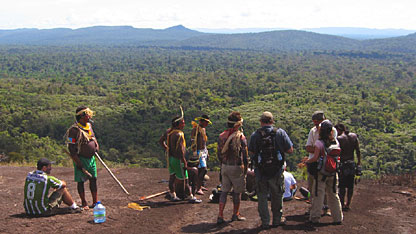 The crew and Kayapo members on a hill top