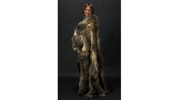 Mor Mor (Maureen Reyland) wearing her cloak (Photo: Carl Bento, Australian Museum, 2009)