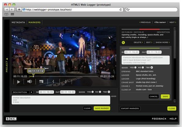 smpte timecode based and frame accurate metadata logging is now possible over the web with html5