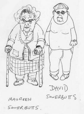 Sketch of David and Maureen Sowerbutts