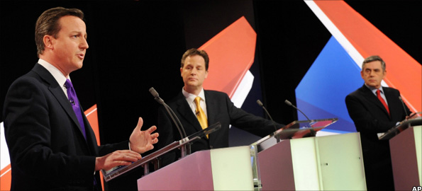 David Cameron, Nick Clegg and Gordon Brown