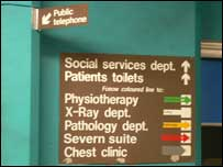 Signs at Worcester Royal Infirmary
