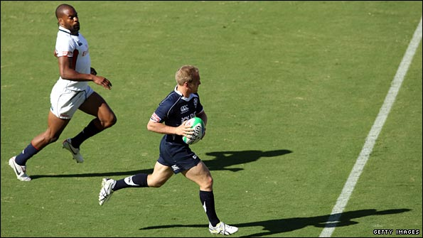 Rugby sevens players have more space to run and need to carry less bulk
