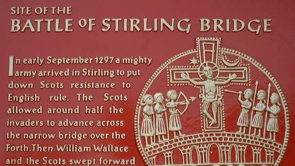 """Plaque commemorating Stirling Bridge. """""""