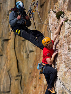 Photo kind courtesy of Triple Echo: Cameraman Ben Prichard films Tim Emmett on a practice climb on Screaming Geo, a rock face on Lewis