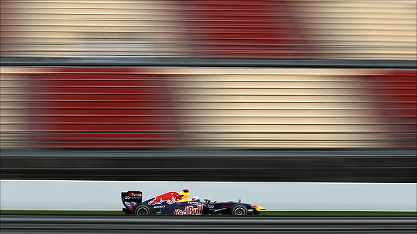 Sebastian Vettel in the Red Bull at the Circuit de Catalunya